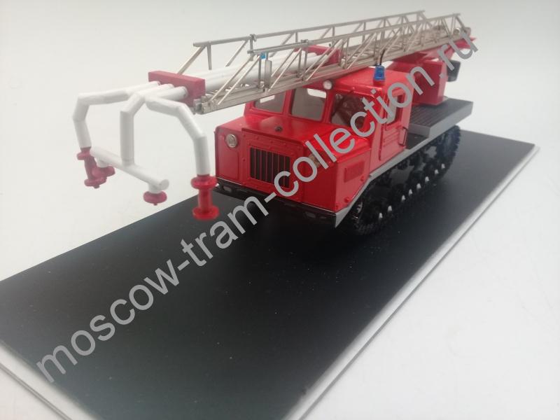 Коллекционная масштабная модель 1:43 Пожарная машина пенного тушения на гусеничном шасси АТ-С712