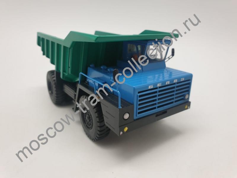 Коллекционная масштабная модель 1:43 БЕЛАЗ-540 карьерный самосвал, синий/зелёный