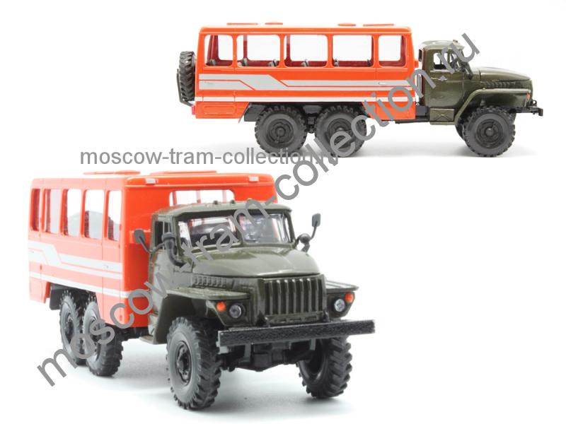 Коллекционные масштабные модели Урал 4320 вахтовый автобус 42111 хаки-оранжевый