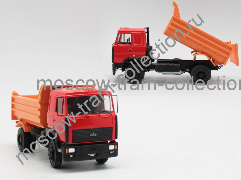Коллекционная масштабная модель 1:43 Маз 5551 красная со спальником, самосвал