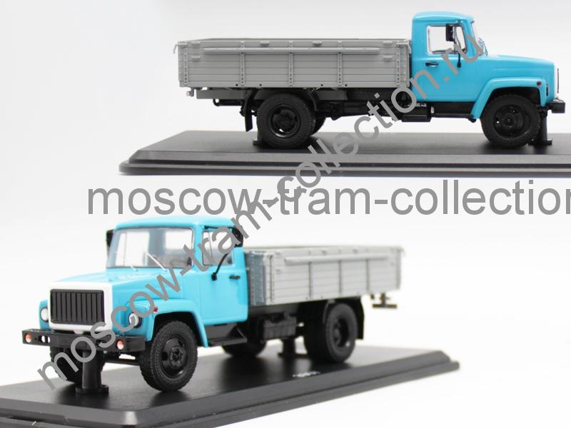 Коллекционная масштабная модель 1:43 Горький-3307 (двигатель ЗМЗ-513) дерев. борт (голубой-серый)
