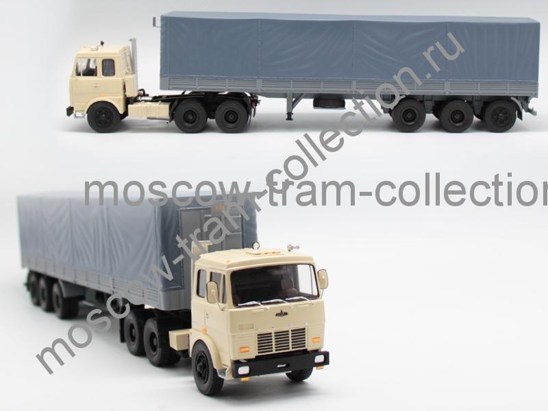 Коллекционная масштабная модель 1:43 МАЗ 6422 беж. 1975г. + п/пр МАЗ 9389 тент
