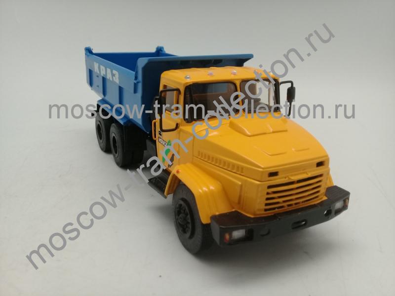 Масштабная коллекционная модель КрАЗ 65055 желто-синий