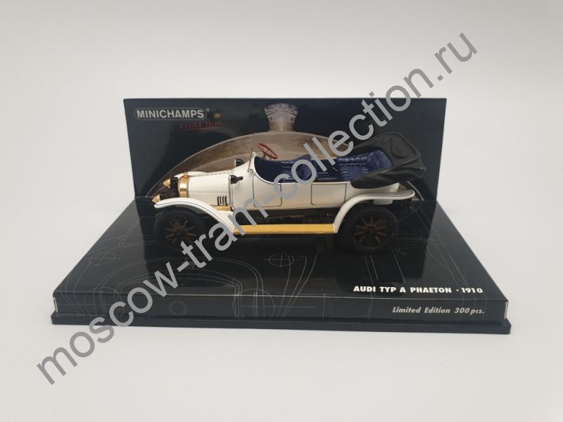 Коллекционная масштабная модель 1:43 Audi Typ A Phaeton 1910 White/blue