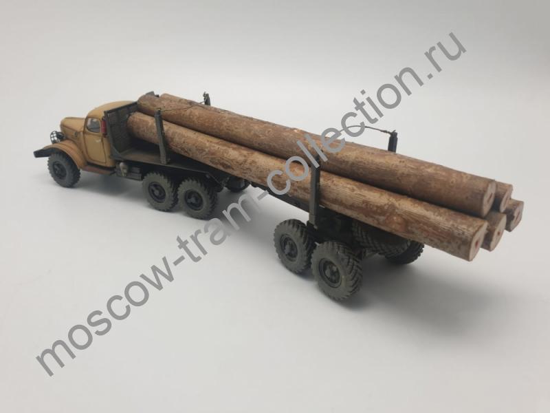 Коллекционные масштабные модели ЗиЛ 157 лесовоз с 2х-прицепом(бежевый,со следами эксплуатации)