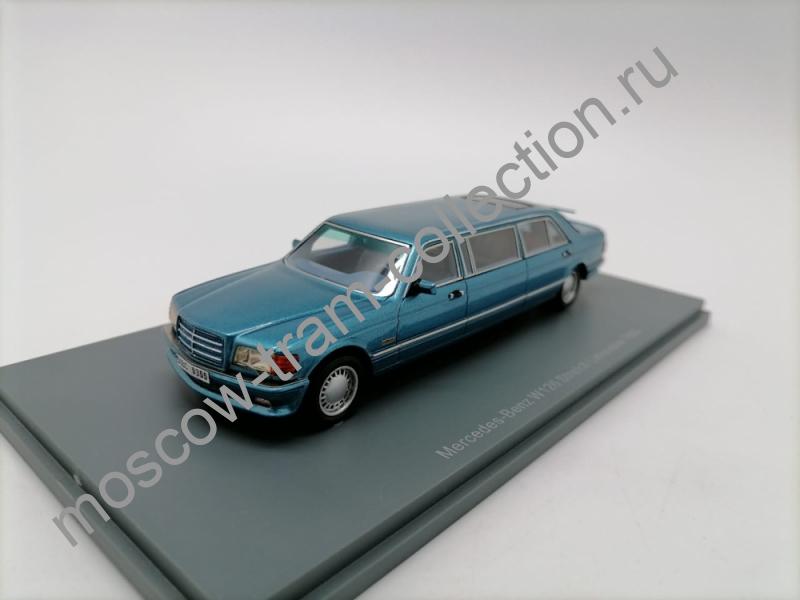 Коллекционная масштабная модель 1:43 Mercedes-Benz S-Class W126 Stretch-Limousine 1990 голубой металлик